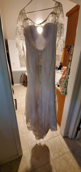 Blue Willow White Size 4 Sheer Lace Mermaid Dress on Queenly