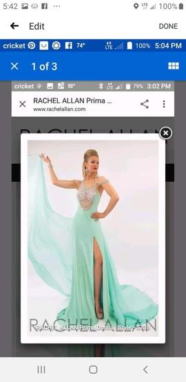 Queenly size 0 Rachel Allan Green Train evening gown/formal dress