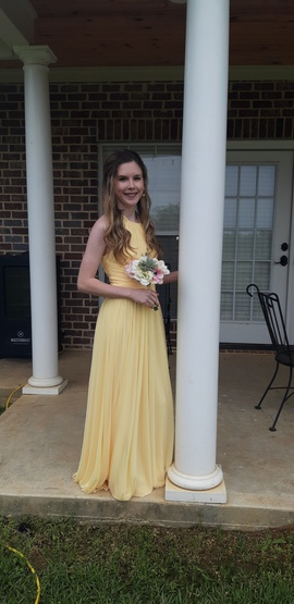 David's Bridal Yellow Size 0 Polyester Halter Sheer Straight Dress on Queenly