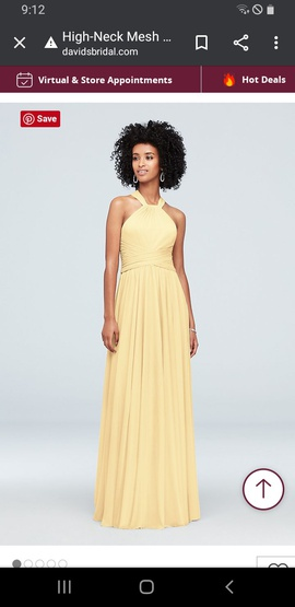 "Queenly size 0 ""b""""David's Bridal"""""" Yellow Straight evening gown/formal dress"