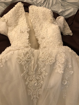 Custom made White Size 4 Long Sleeve Sleeves Lace Ball gown on Queenly