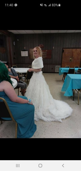 Queenly size 6 Candice Bridal And Prom White Train evening gown/formal dress
