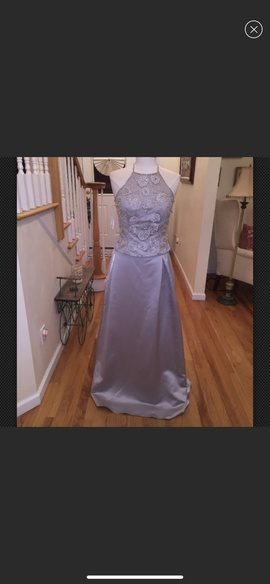 Queenly size 8 Mon Cheri Silver A-line evening gown/formal dress