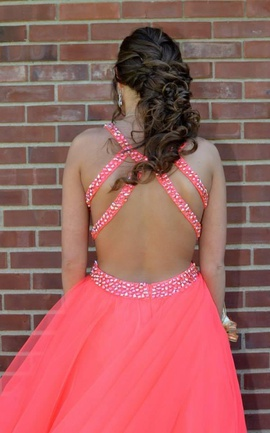 Jovani Orange Size 0 Prom Backless Ball gown on Queenly