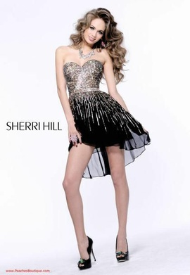Queenly size 0 Sherri Hill #8443 Black Cocktail evening gown/formal dress