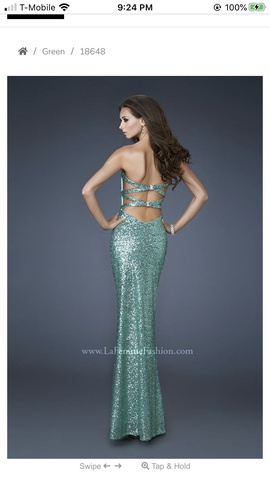 La Femme Green Size 0 Strapless Cut Out Shiny Straight Dress on Queenly