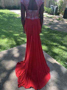 Sherri Hill Red Size 10 Jewelled Tall Height Train Dress on Queenly
