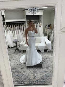 Stella York White Size 10 Wedding Flare Sheer Mermaid Dress on Queenly
