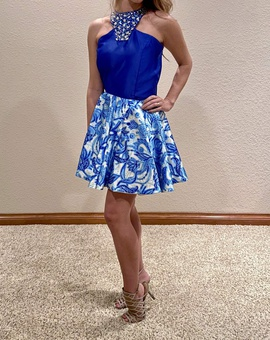 Queenly size 4 Caitlyn Kent Custom Design Blue Cocktail evening gown/formal dress