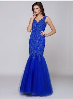 Queenly size 4 Glow Blue Mermaid evening gown/formal dress