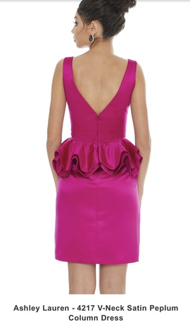 Ashley Lauren Hot Pink Size 8 Plunge Interview Cocktail Dress on Queenly