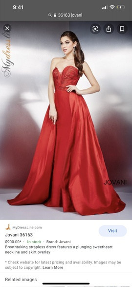 Queenly size 6 Jovani Red Ball gown evening gown/formal dress