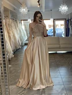 Vienna Nude Size 2 Rose Gold Pageant Gold Ball gown on Queenly