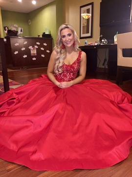 Style 44317 Sherri Hill Red Size 6 Prom Train A-line Dress on Queenly