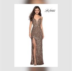 Queenly size 0 La Famme Gold Side slit evening gown/formal dress