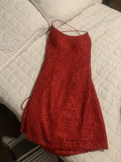 Sherri Hill Red Size 6 Sequin Homecoming Lace Straight Dress on Queenly