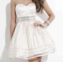 Queenly size 2 Rachel Allan Nude A-line evening gown/formal dress