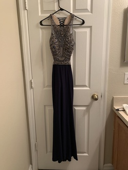 Camille La Vie Blue Size 4 Short Height Halter Straight Dress on Queenly