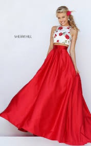 Sherri Hill Red Size 2 Two Piece Prom Floral Ball gown on Queenly