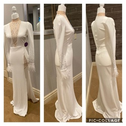 Queenly size 2  White Straight evening gown/formal dress