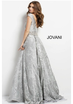 Jovani Silver Size 16 Plus Size A-line Dress on Queenly