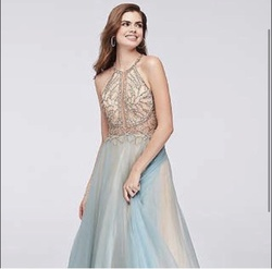 Camille La Vie Blue Size 2 Halter Ball gown on Queenly
