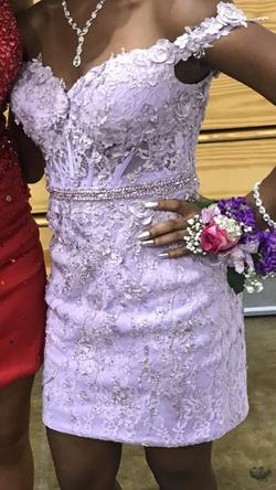Rachel Allan Purple Size 4 Short Height Mini Straight Dress on Queenly