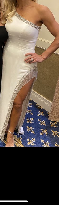 Sherri Hill White Size 4 Jewelled Tall Height Side slit Dress on Queenly