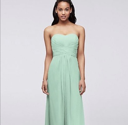 Davids Light Green Size 2 Strapless Straight Dress on Queenly