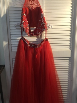 Morgan & Co. Red Size 8 Halter Morgan And Co. Ball gown on Queenly