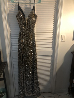 La Femme Multicolor Size 4 Jewelled Side slit Dress on Queenly