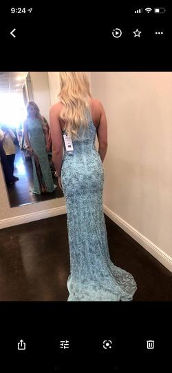 Sherri Hill Blue Size 2 High Neck Side slit Dress on Queenly