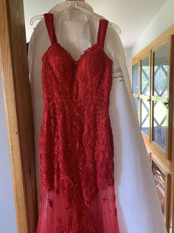 Rachel Allan Red Size 4 Prom Lace Train Dress on Queenly