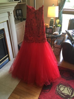 Sherri Hill Red Size 6 Strapless Mermaid Dress on Queenly