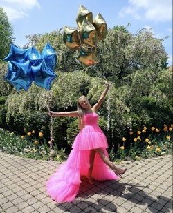 Sherri Hill Pink Size 00 Mini Corset Train Dress on Queenly