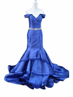 Queenly size 8 Jovani Blue A-line evening gown/formal dress