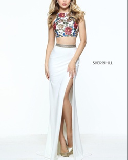 Sherri Hill White Size 2 Side Slit Two Piece Straight Dress on Queenly