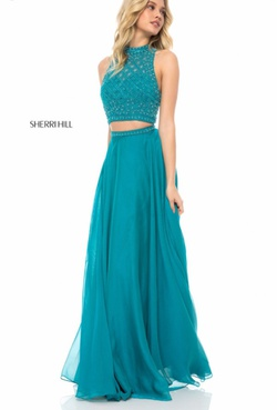 Sherri Hill Blue Size 2 Two Piece Straight Dress on Queenly