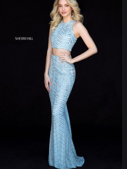 Queenly size 6 Sherri Hill Blue Straight evening gown/formal dress