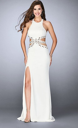 La Femme White Size 6 Prom Straight Dress on Queenly