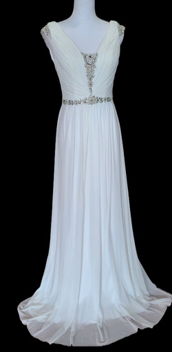 La Femme White Size 6 Pageant Wedding Jewelled A-line Dress on Queenly