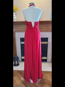 Sherri Hill Red Size 10 Halter Lace Straight Dress on Queenly