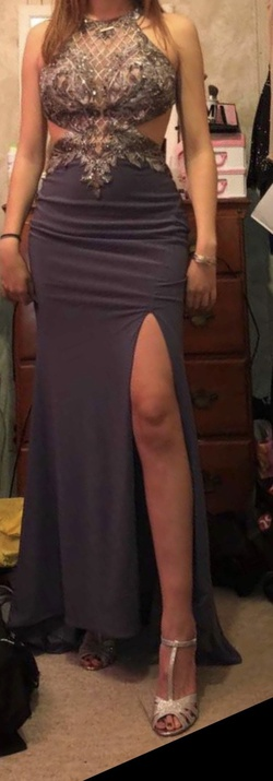 Silver Size 6 Side slit Dress on Queenly