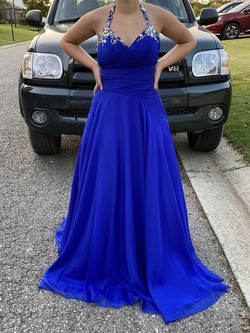 Mac Duggal Blue Size 8 Halter Ball gown on Queenly