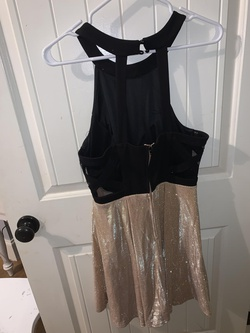 Teeze Me Gold Size 12 Halter Plus Size Shiny Cocktail Dress on Queenly