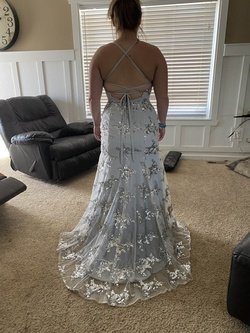 Silver Size 8 Train Dress on Queenly
