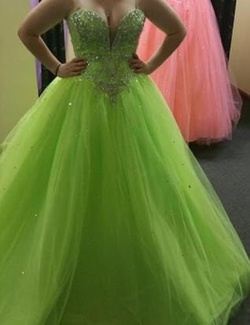 Mori Lee Green Size 4 Prom Corset Ball gown on Queenly