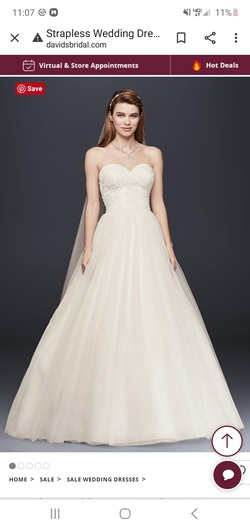David's Bridal White Size 6 Wedding Sweetheart Ball gown on Queenly