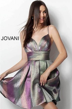 Jovani Multicolor Size 2 Sweetheart Shiny Cocktail Dress on Queenly