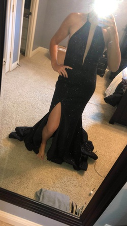 Jovani Black Size 8 Tall Height Train Dress on Queenly
